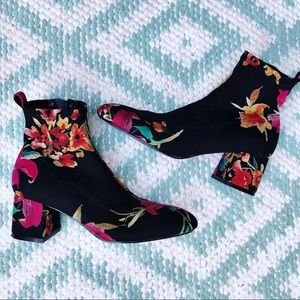 Topshop Black floral ankle boots